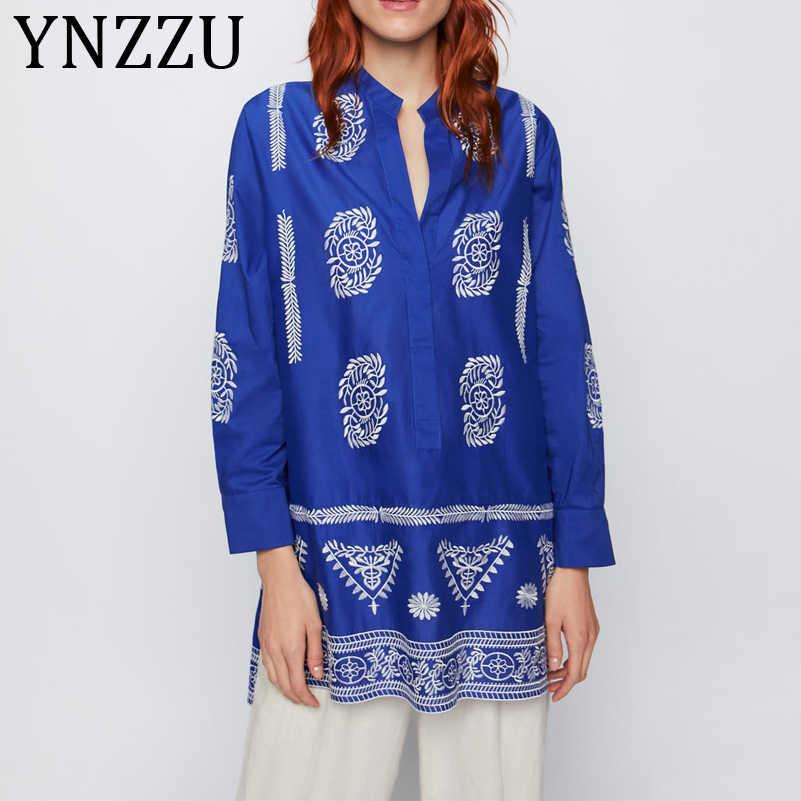 YNZZU Bordados de Algodão Do Vintage Longo Blusa Mulheres 2019 Outono Azul Dividir Manga Comprida Loose Women Tops e Blusas Camisa AT276