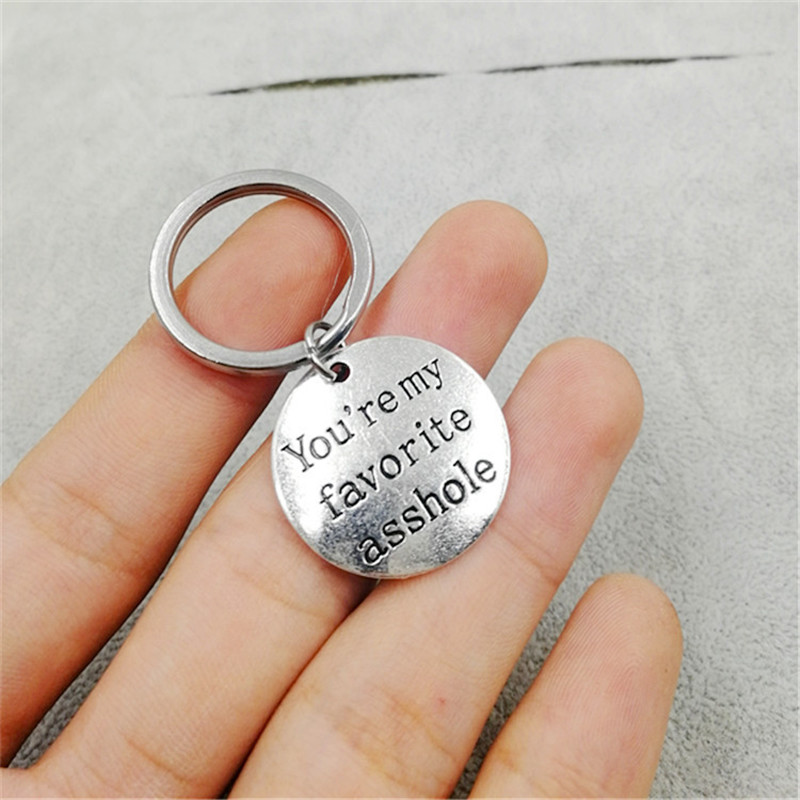 Funny Key Chain You're My Favorite Asshole Keychain Key Ring Valentines Day Stainless Steel Keyring Gifts For Husband Llavero