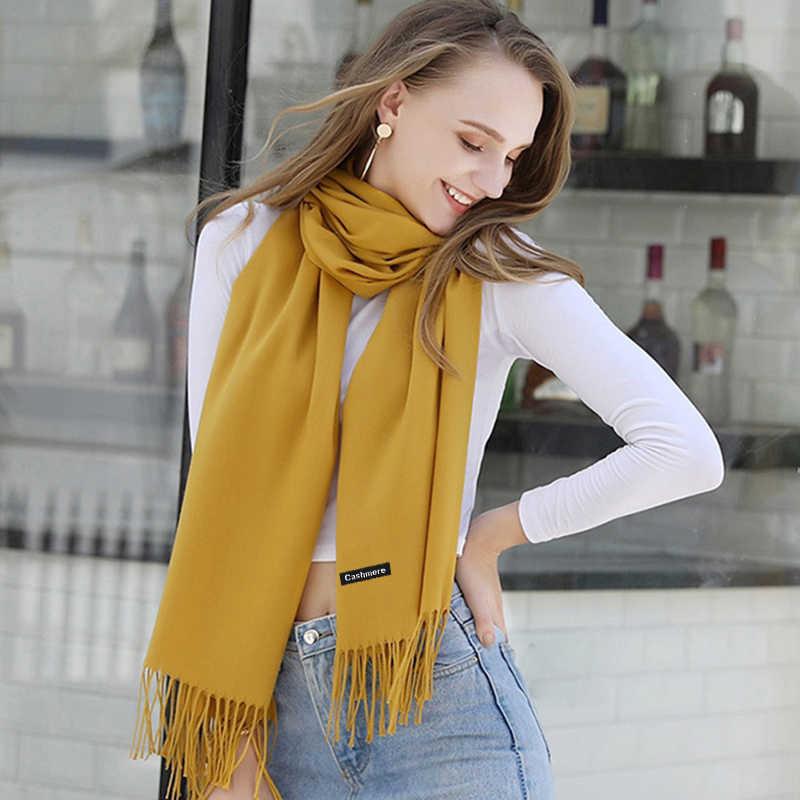 2019 Winter Cashmere Women Scarf Female Luxury Brand Scarves Lady Tassel Bandana Women Solid Shawl Wraps Foulard Tippet Pashmina