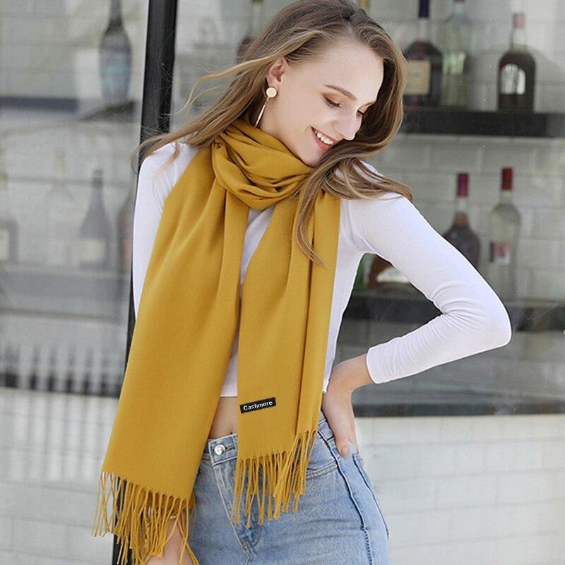 Image 5 - 2019 冬のカシミヤスカーフ女性の高級ブランドのスカーフ女性タッセルバンダナ女性ソリッドショールラップスカーフティペットパシュミナレディース スカーフ   -