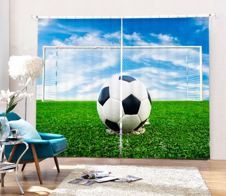 Creative Football Picture 3D Window Curtain For Bedding RoomCreative Football Picture 3D Window Curtain For Bedding Room