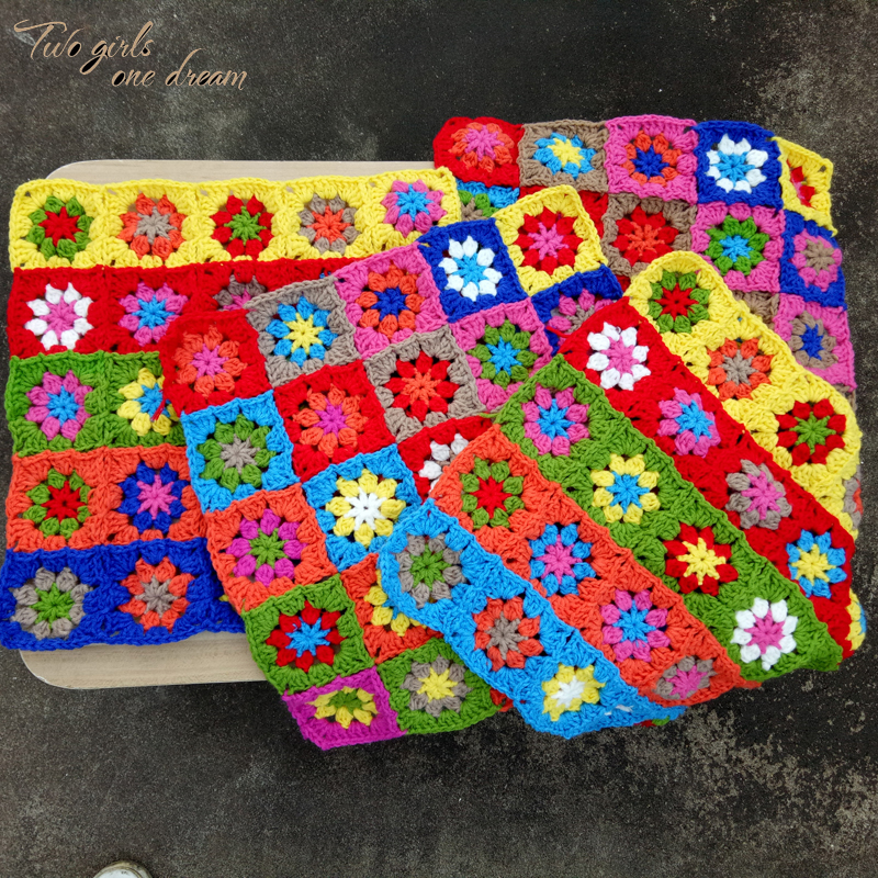 Original Square Handmade Crochet Seat Cushion Diy Hand Tablemats