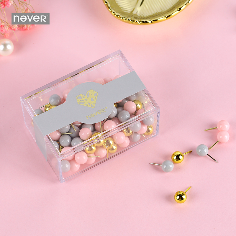 Never Pink Series Push Pins Gold Thumb Tack Message Cork Boa