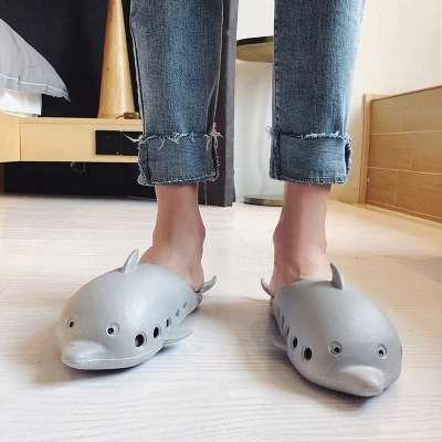 Casual Grey Cute Dolphin Slippers Men Summer Breathable Animal Slides Slippers Indoor Man Black Flip Flops mens slippers rubber breathable shoes black flip flops mans black summer slippers 2018 new slippers male