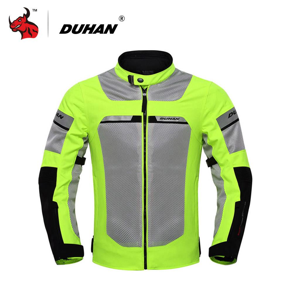 DUHAN Motorcycle Jacket Summer Breathable Moto Jacket Male Motorcycle Racing Jacket Motocross Clothing Black And Green