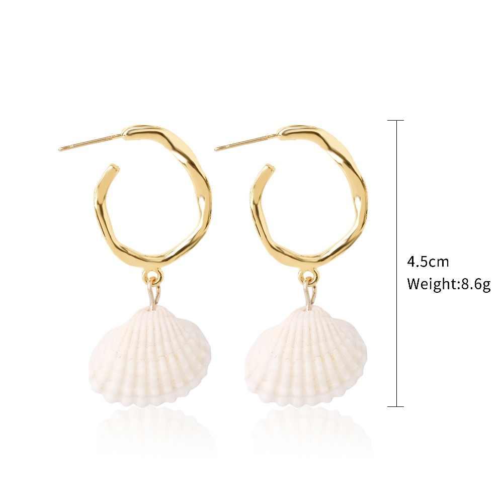 Xiyanike 19 Gaya Perhiasan Sederhana Alami Shell Mutiara Air Tawar Panjang Menjuntai Anting-Anting Wanita Indah Buatan Tangan Telinga Aksesoris