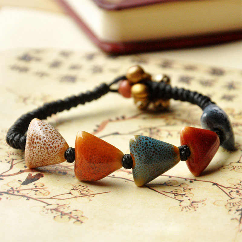 Ceramic Heart Bracelets Triangle Beads Charm Love Cuff Bangles Bronze Bell Weave Rope Chain Women Men Jewelry Wristbands