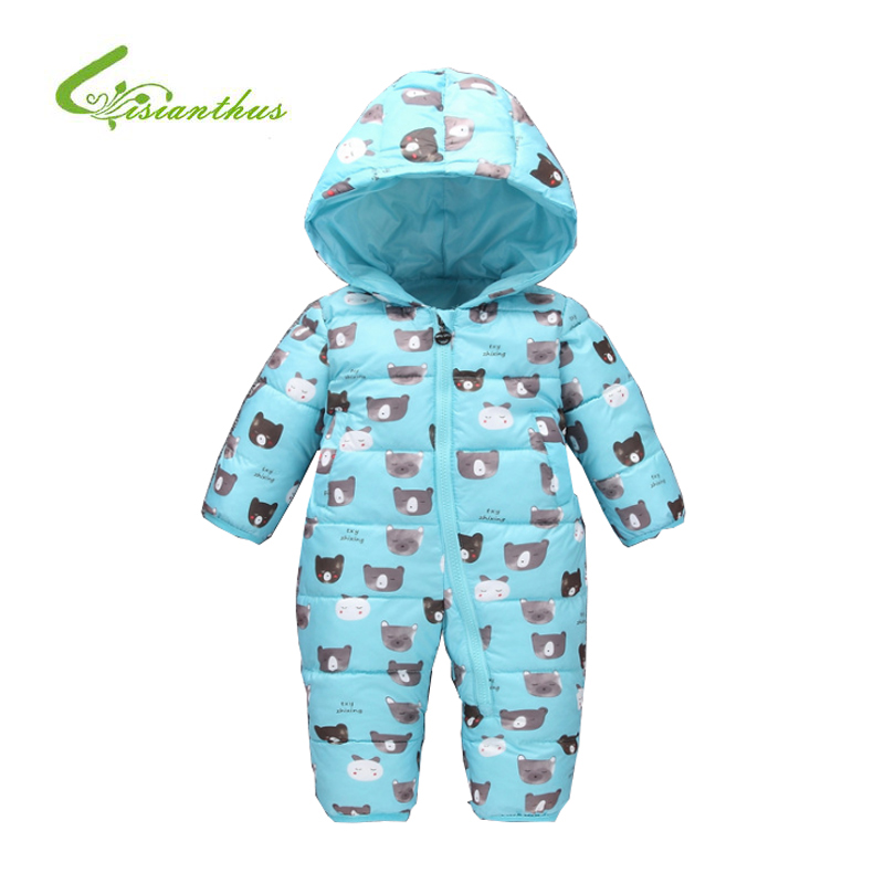 Warm Baby Romper Boys Girls Snowsuit Cotton Kids Winter Cartoon Bear Hoodies Outwear Newborn Overalls Jumpsuit Children Clothes