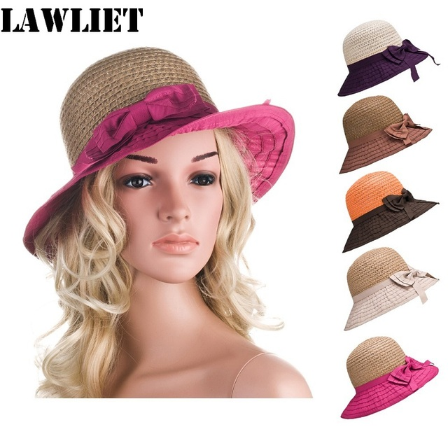 New style Mixed Color Womens Summer Hats Foldable Hats Bow Straw Cloche Sun Hat For women A278