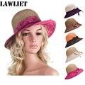 Nuevo estilo Color Mezclado Mujeres Sombreros de Verano Sombreros Plegables Arco Straw Cloche Sombrero Para El Sol Para las mujeres A278