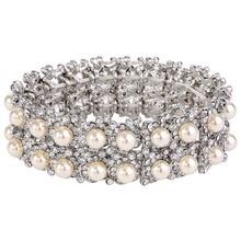 Bella Fashion Flower Rhinestone Bridal Bracelet Ivory Pearl Austrian Crystal Bracelet Stretch Wedding Accessory Party Jewelry