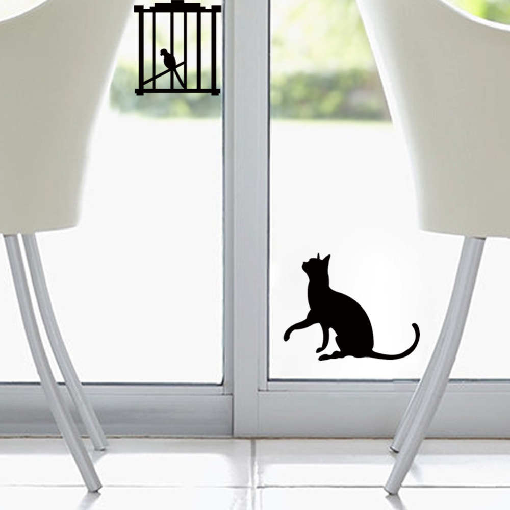 Creative Cat Birds Switch Stickers Wall Fridge Stickers Bedroom Parlor Decoration DIY Home Decor cheap wall quotes wallpaper