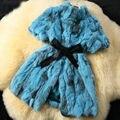 Настоящее Мех Кролика Пальто с ПУ Кожаный Ремень Случайные Женщины Зимняя Куртка Леди Сращены Мех Пиджаки Большой Размер AU00315