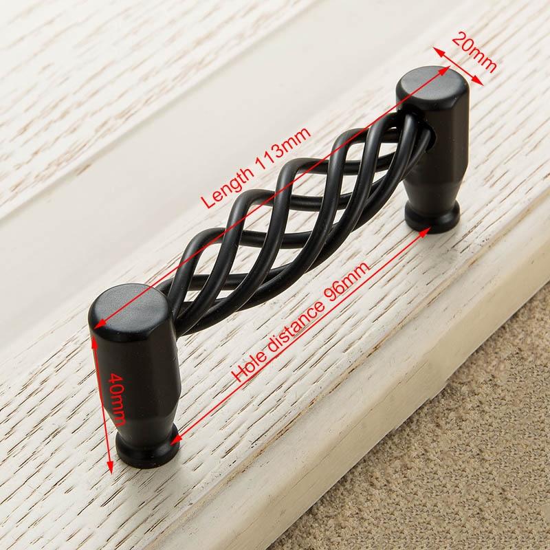 KAK винтажные антикварные бронзовые ручки для шкафа, полые ручки для птичьей клетки, ручки для выдвижных ящиков, Съемники дверей шкафа, Мебельная ручка - Цвет: 3004-96 Black