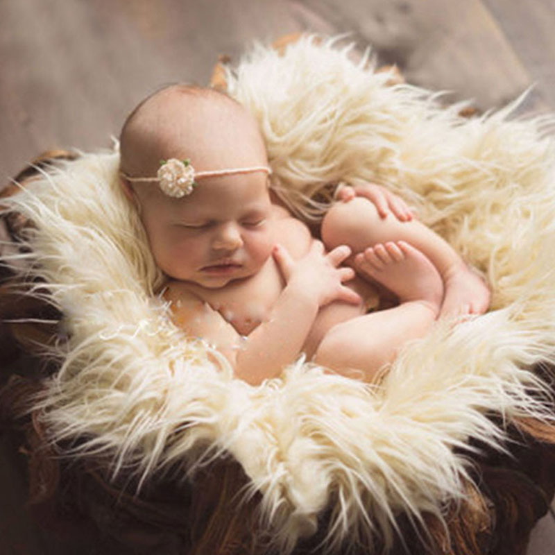 1Pc Photography Props Newborn Soft Faux Fur Rug Mat Baby Infant Blanket Backdrop New