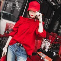 2019 New Korea Fashion Ladies Tops Off Shoulder Top Slim Blouse Red Ruffle Sexy Slash neck Casual Shirt