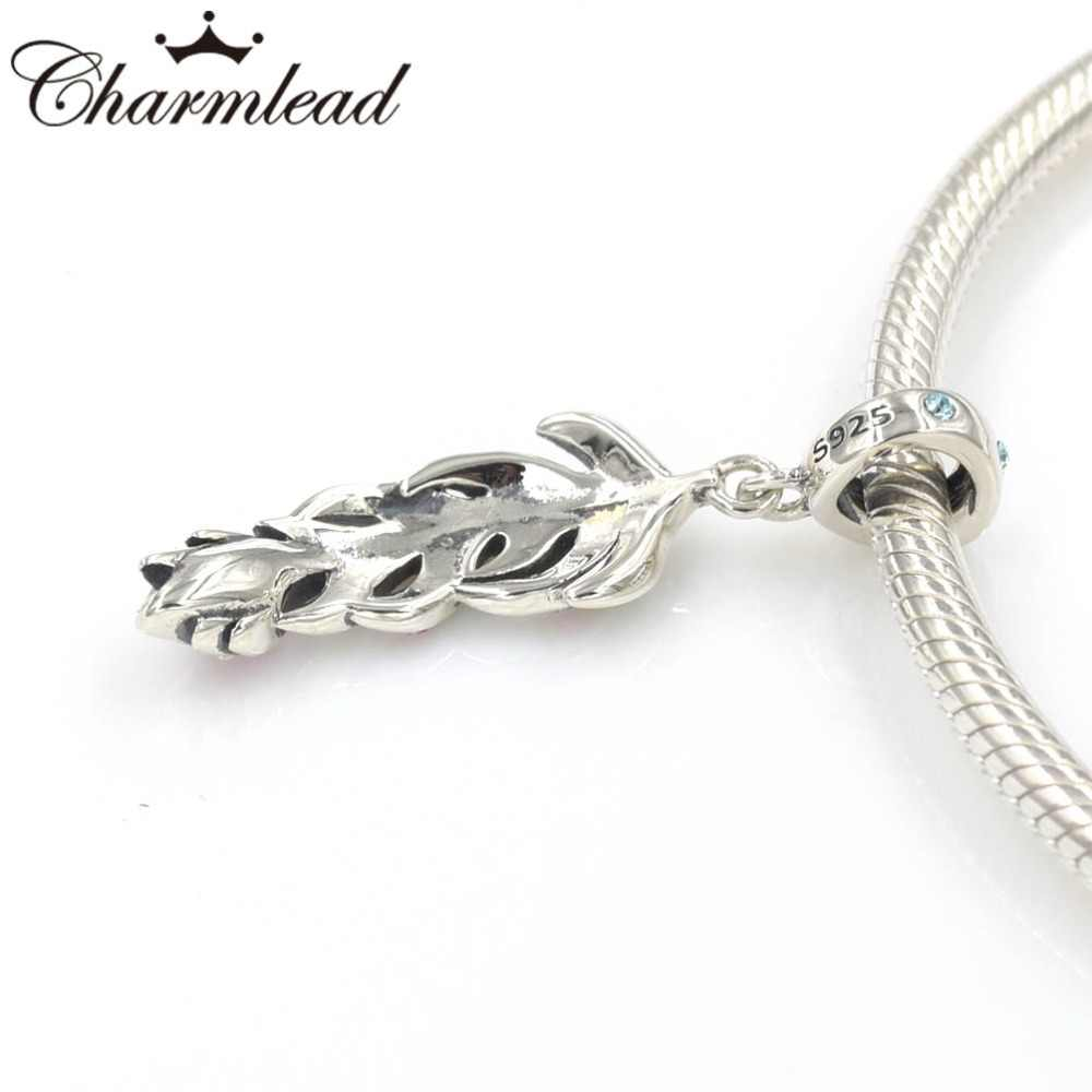 88ccfe3cf ... Peacock Feather Charm Pendant 925 Sterling Silver Charms with Color  Stone Fits Pandora Bracelet DIY Women