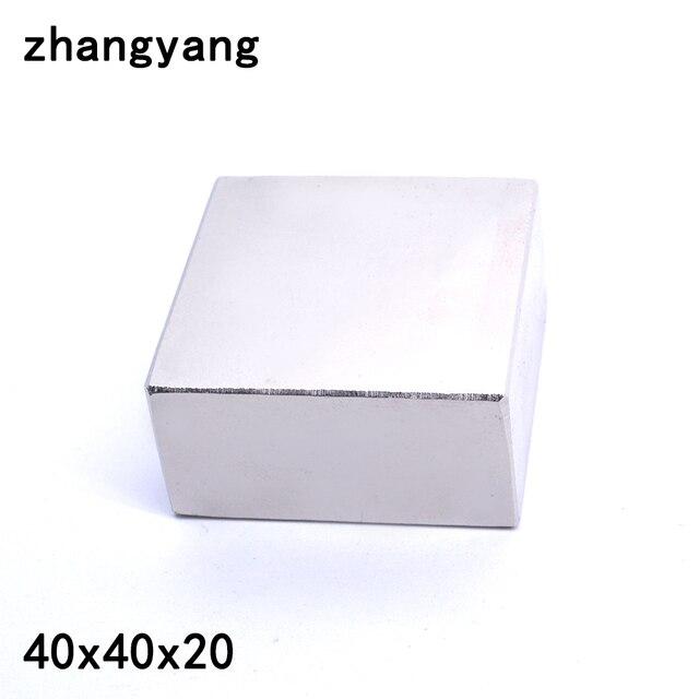Неодимовый магнит, 2 шт., 40x40x20 мм, металлический Галлий, суперпрочные магниты 40*40*20, квадратный неодимио, мощный постоянный магнит