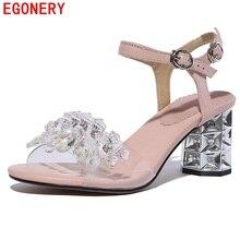 Egonery sandalias de cuero de mujer 2018 de moda de verano string bead  zapatos de cuero genuino zapatos de tacones altos sandali. 031f272a4c95