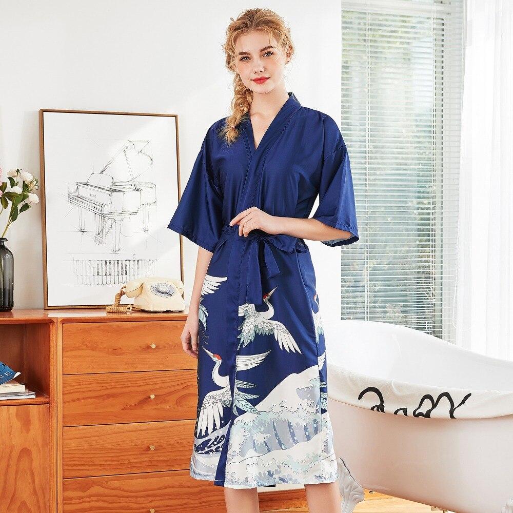 Der GüNstigste Preis Daeyar Satin Robe Tier Druck Robe Sexy Lange Bademantel Silk Kleid Der Halben Hülse Hause Kleidung Dressing Kleid Elegante Nachtwäsche Damen-nachtwäsche