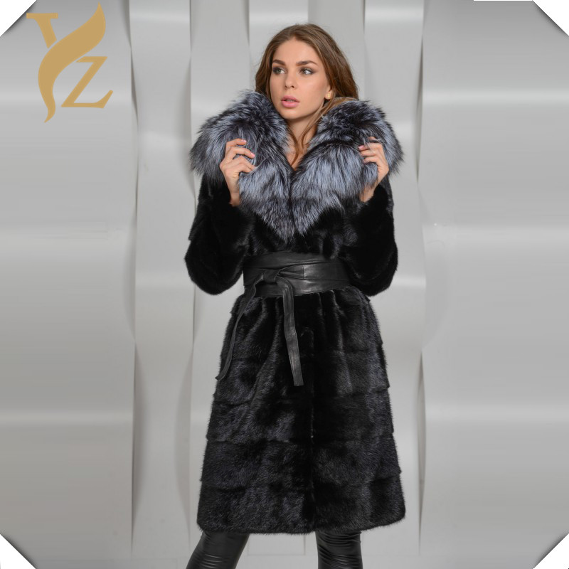 Longue Peau À Avec Manteaux Manteau Big Fox Col New Silver Vison Ceinture De Black Mince Incroyable Fourrure Long Entier Chaud Luxe Véritable IWH2eDE9Y