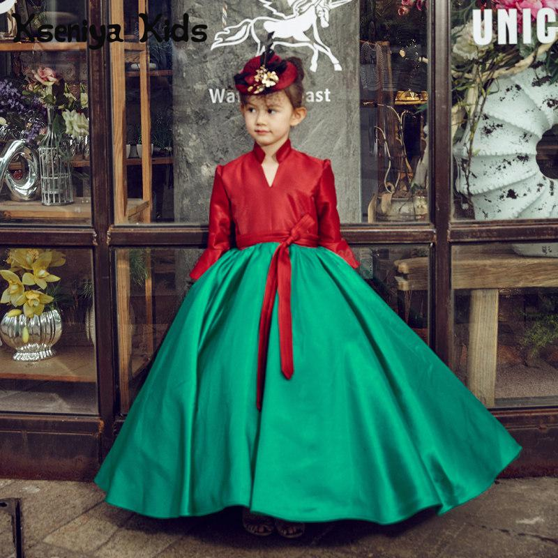 Kseniya Kids 2017 Long Sleeved Retro Princess Palace Children Baby Girls Dress Catwalk Hanbok Girl Long Fluffy Dresses Clothes qiu dong children dress long sleeved cinderella princess dress love sally dresses of the girls