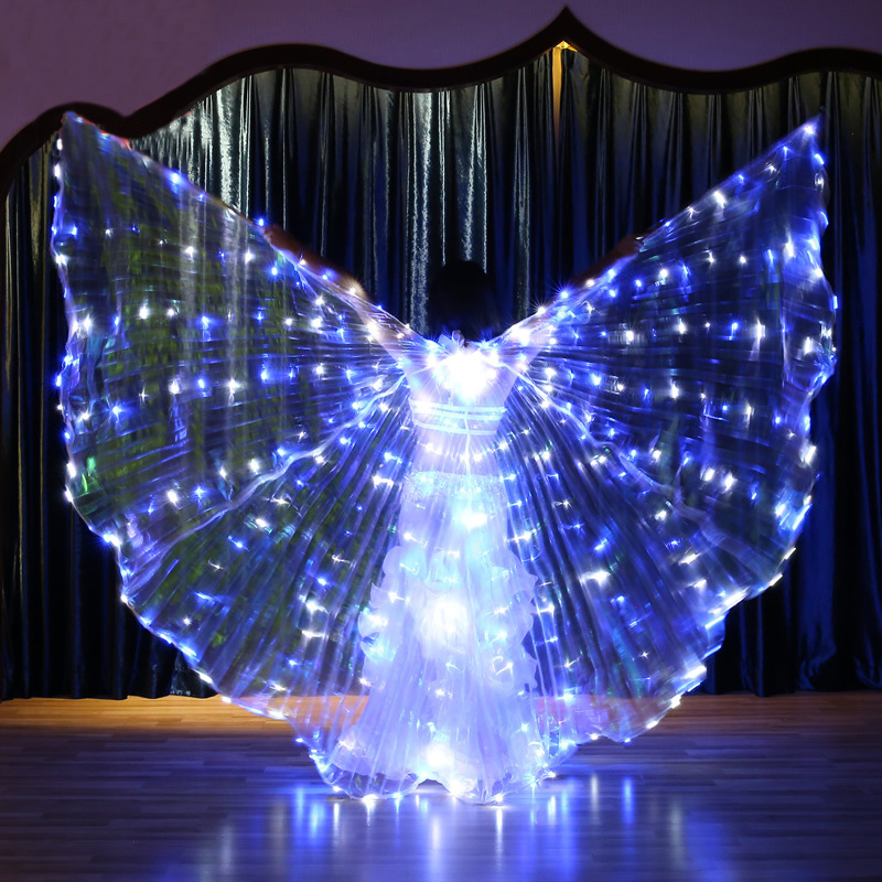 Women Flashing Blue White Light Belly Dance Isis Angel Wings LED Fairy Butterfly Costumes Oriental Bellydance