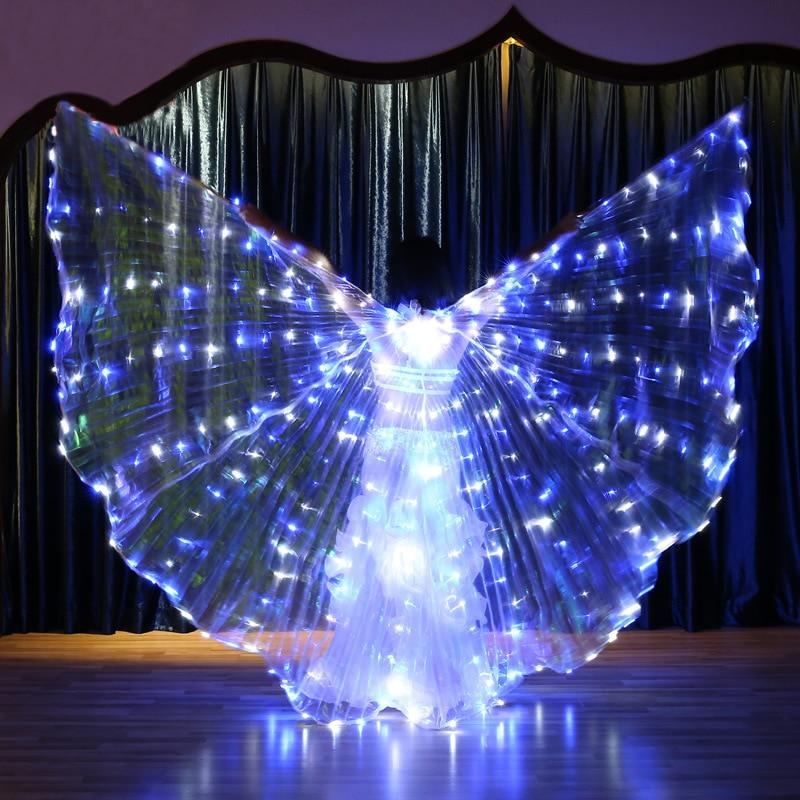 Femmes clignotant bleu blanc lumière danse du ventre Isis ange ailes LED fée papillon Costumes Oriental danse du ventre accessoire
