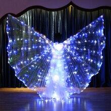 Kobiety migające niebieskie białe światło taniec brzucha Isis skrzydła anioła LED wróżka motyl kostiumy orientalne akcesoria do tańca Bellydance