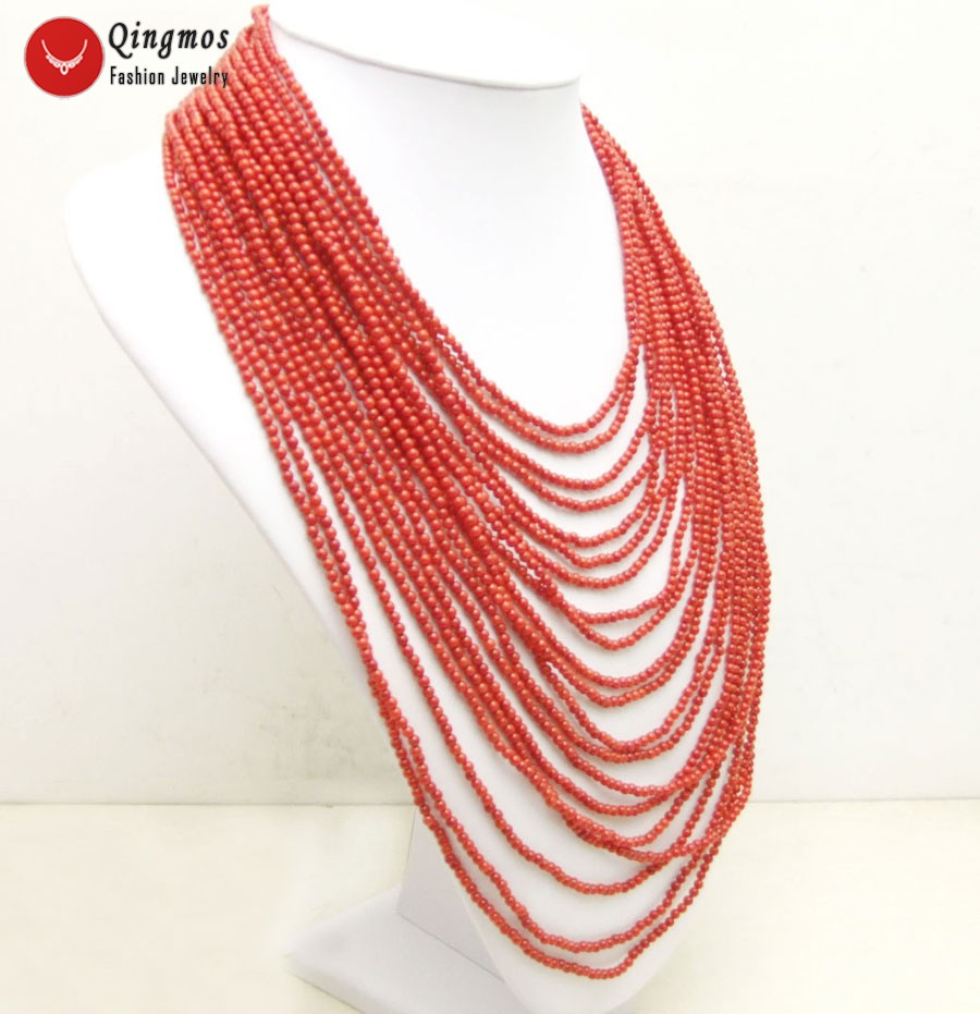 Qingmos Trendy 20 Strands Red Coral Necklace for Women with 3-4mm Red Round Natural Coral 18-27 Necklace Fine Jewelry 5769Qingmos Trendy 20 Strands Red Coral Necklace for Women with 3-4mm Red Round Natural Coral 18-27 Necklace Fine Jewelry 5769