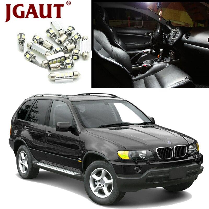 JGAUT For 2000-2006 BMW X5 E53 White Canbus Error Free Car LED Light Bulbs Interior Package Kit Courtesy License Plate Lam