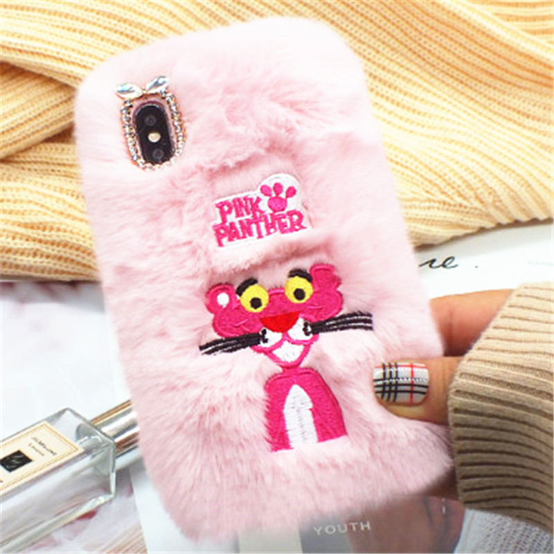 1Pcs Case For Google Nexus 5 5X 6 6P Fluffy Fur Cute Panther Warm Phone Case For Google Pixel 2 3 Pixel XL 2XL Pixel 3XL Coque