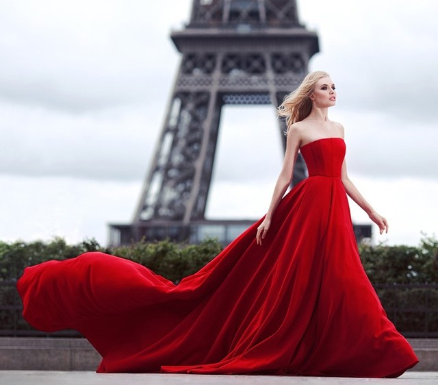 Simple Generous Red Strapless Ball Gown Long Prom Dresses 2016 ...