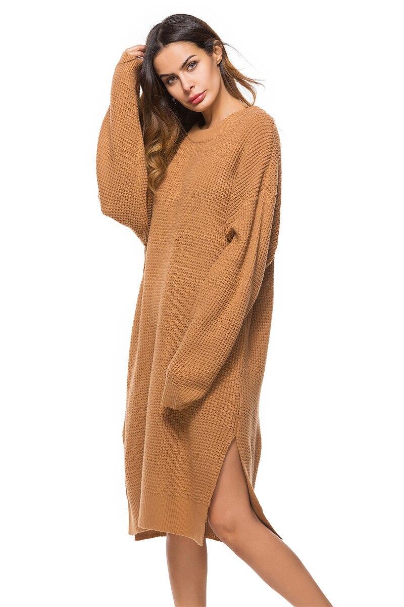 Fall Winter Vintage Mustard Side Slit Crochet Sweater Dress for Women Cute Ladies Retro Cosy Loose Split Pullover One Size 35
