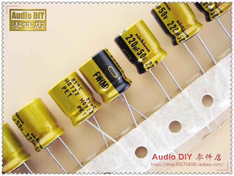 2019 Hot Sale 10pcs 30pcs Nichicon Fw Series 220uf 50v Electrolytic Capacitors For Audio Free
