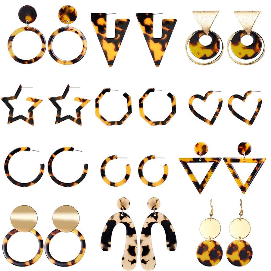 Leopard Print Long drop Earrings For Women Tortoiseshell Acetate Resin Acrylic Za Heart Star Circle Geometric Earring Pendientes