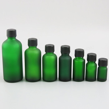 200 x Refillable Frost Green Glass Bottles with Phenolic Cone Cap 100ml 50m 30ml 20ml 15ml 10ml 5ml  1/3oz 1oz Glass Containers