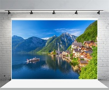 Laeacco Blue Sky Mountains Forest Seaside Town Photography Backgrounds Vinyl Customs Photographic Backdrops For Photo Studio