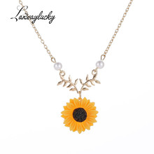 Alloy Sunflower Pendent Necklace Women Costume Jewelry Charm Gifts Imitated Pearl Chain Gold Silver Generous Flower