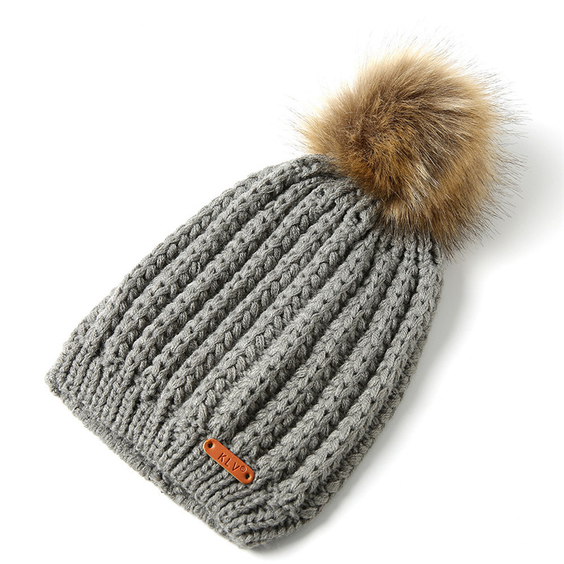 8f99cfac6f1 FORERUN Fashion Pom Pom Beanies Winter Cap for Women Ribbed Knit Hat  Vertical Striped Big Pompom Faux Fur Knitted Skullies Cap-in Skullies    Beanies from ...