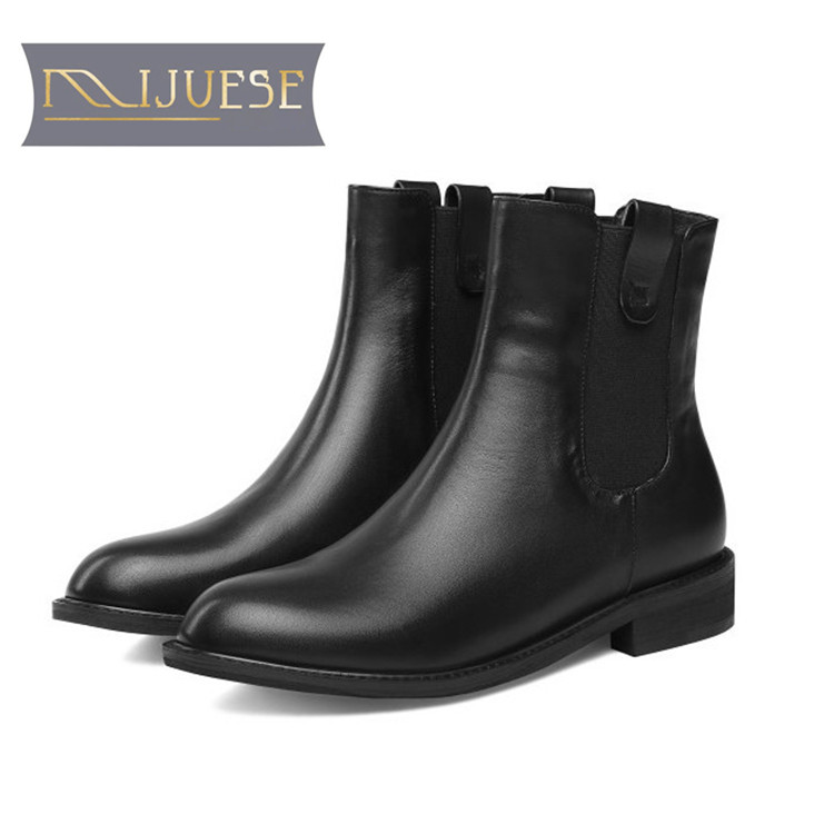 MLJUESE 2019 women ankle boots cow leather slip on black color round toe winter short plush low heel boots women Chelsea boots карниз шатура флоренция м для композиции угловой шкаф 297206
