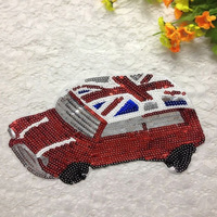 New Cartoon Cars Applique Clothing Embroidery Sequin Patch Fabric Sticker Iron On Or Sew On Patch