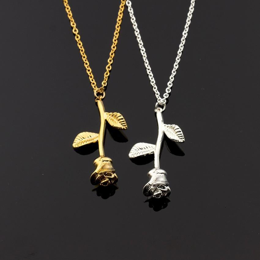 Gold Farbe Vintage Retro lange Rose Blume Kupfer Anhänger Halskette für Frauen Mädchen moderne Musterprodukte Braut Hochzeit Schmuck