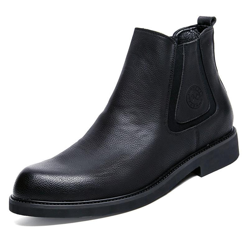 2018 Männer Stiefel Mode Hohe Qualität Komfortable Stiefeletten Casual Herbst Echtem Leder Stiefel Männer Flache Schuhe Business Schuhe Weich Und Leicht