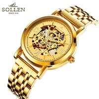 Reloj de marca superior SOLLEN hombres acero dorado reloj de lujo vogue automático reloj de esqueleto de oro relojes mecánicos relogio masculino|masculino|masculinos relogios|masculino watch -