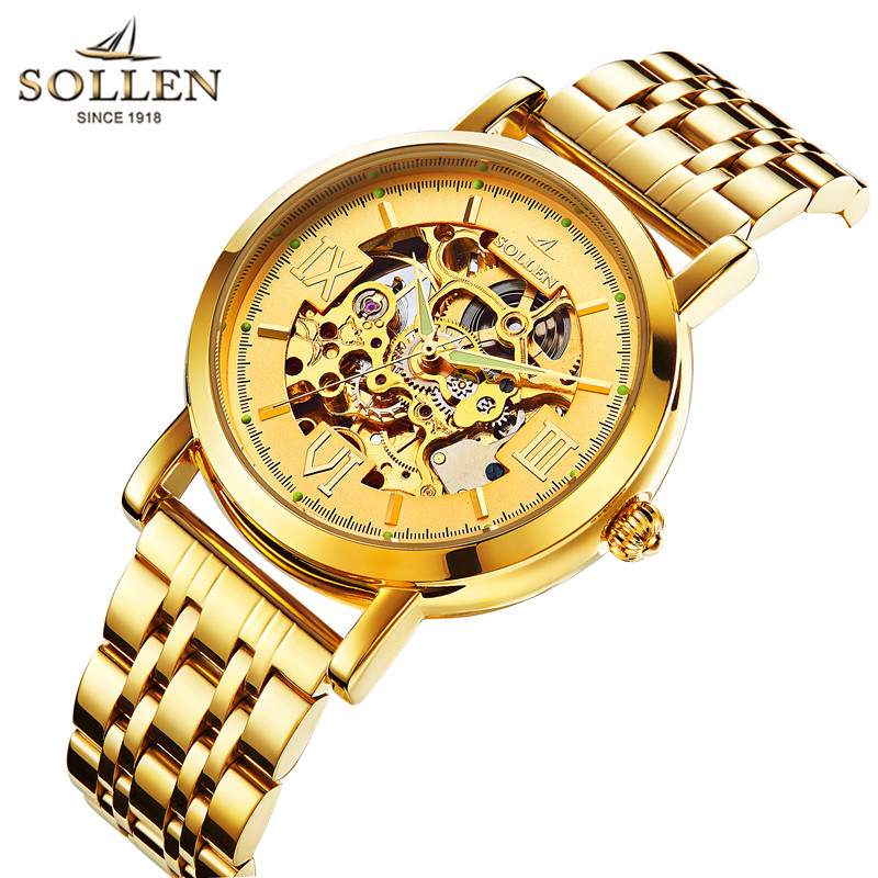 watch Top Brand SOLLEN Mens gold Steel Luxury men watch vogue Automatic Watch Gold Skeleton Mechanical Watches relogio masculino все цены