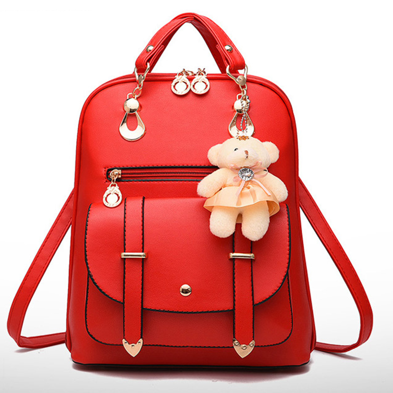 Youth Cute Mini Shoulder Bag Schoolbags For Teenage Girls PU Leather Back Pack Children Blue Backpacks Women Pretty Kids Red Bag