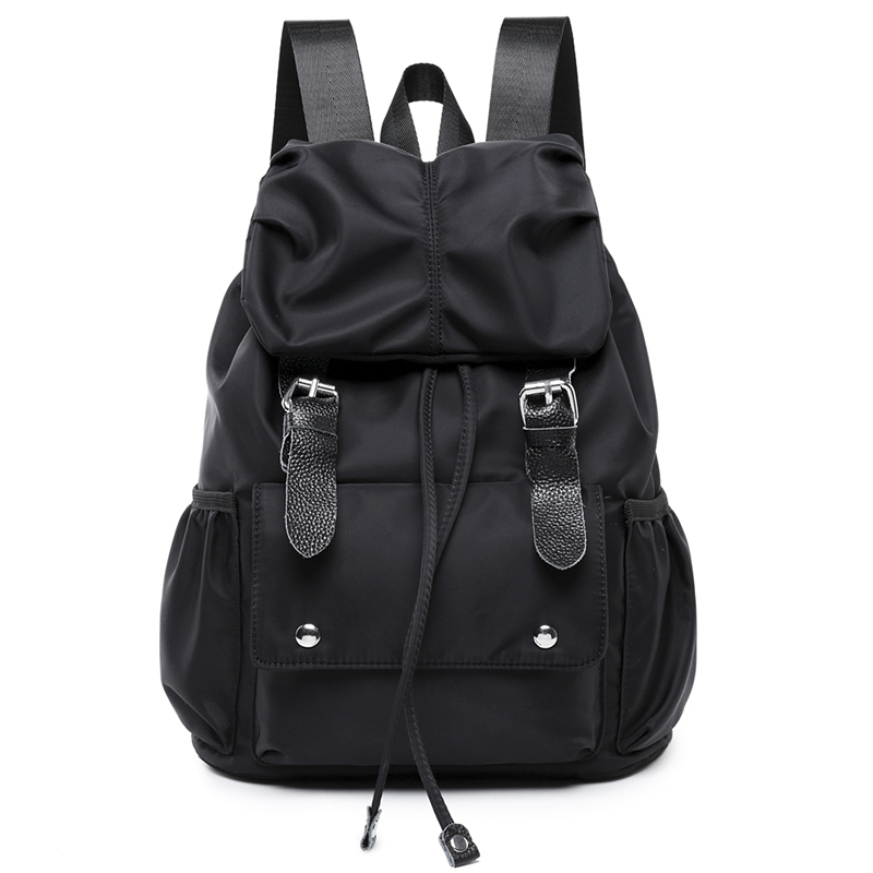 New Fashion Black Women Backpack Nylon Genuine Leather Ladies Backpacks For Teenage Girls College Student Backpack Female 2018 free shipping new 2017 fashion pu white black with rose butterfly pattern student backpack cheap backpacks bb033