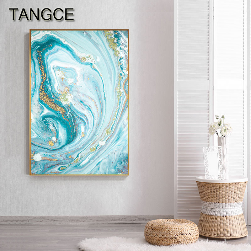 Modern Abstract Green Blue Fusion Wall Art Cuadro Fashion Gold Foil Canvas Painting For Living Room Print N Poster Nordic Style