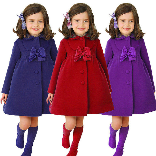 1058366c6 New Kids Girls Winter Clothes Fleece Outerwear Long Trench Wind ...